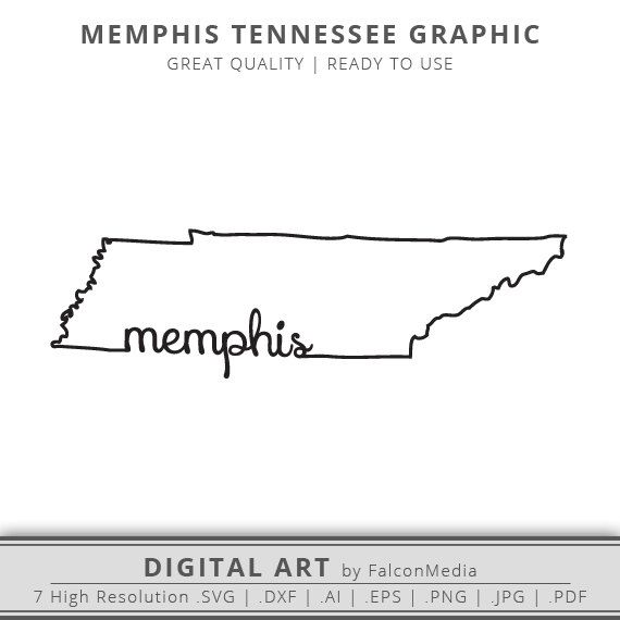 Memphis Tennessee State Outline Graphic Digital Download Memphis Tattoo Tennessee Tattoo Tennessee
