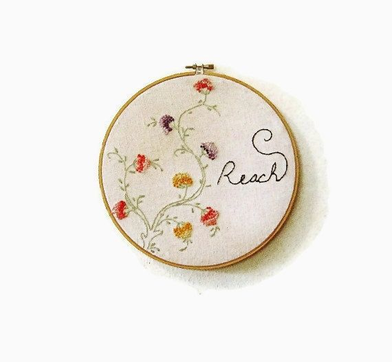 Hoop Art Large Embroidered Vintage Floral Vine By Hittyhatty
