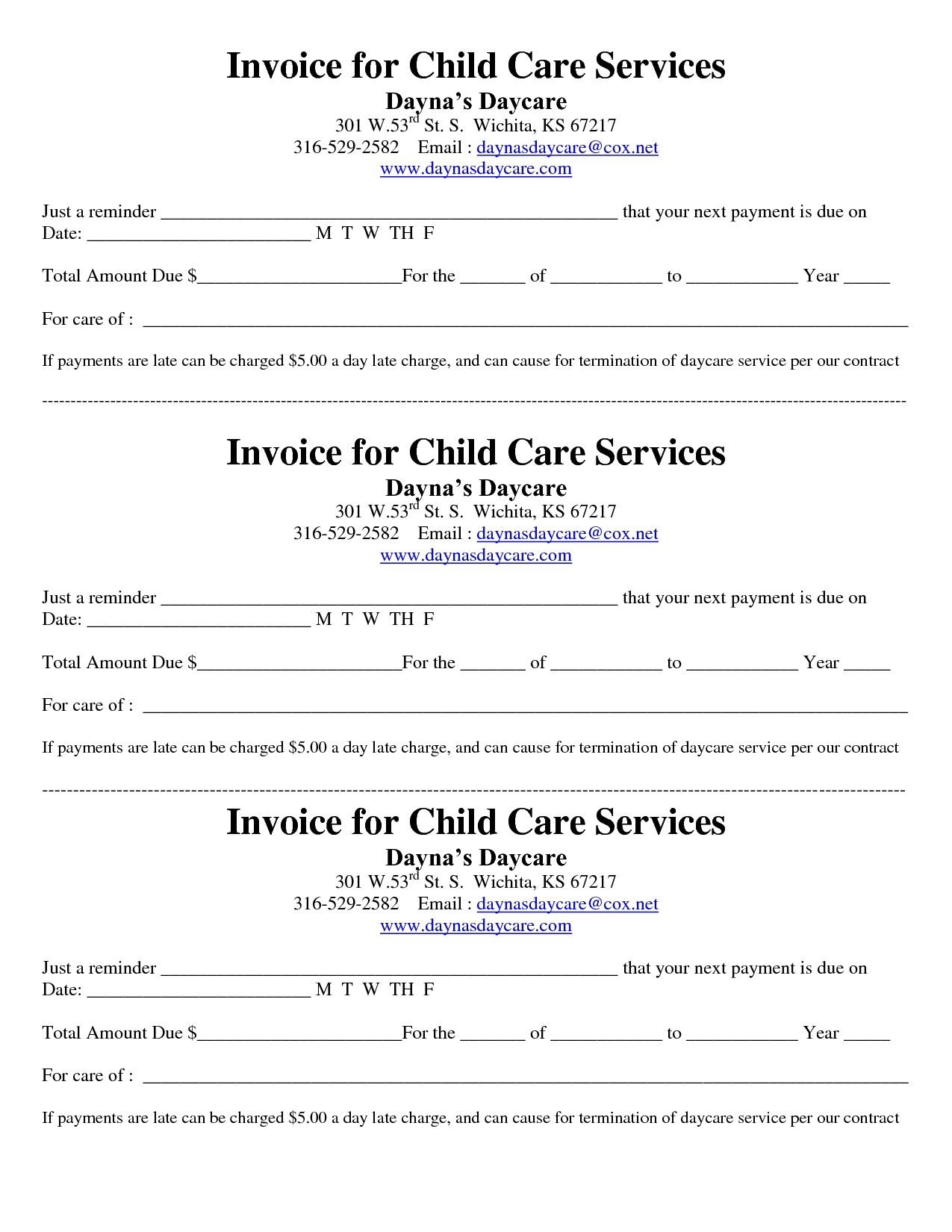 Child Care ReceiptInvoice  Jordi Preschool    Daycare