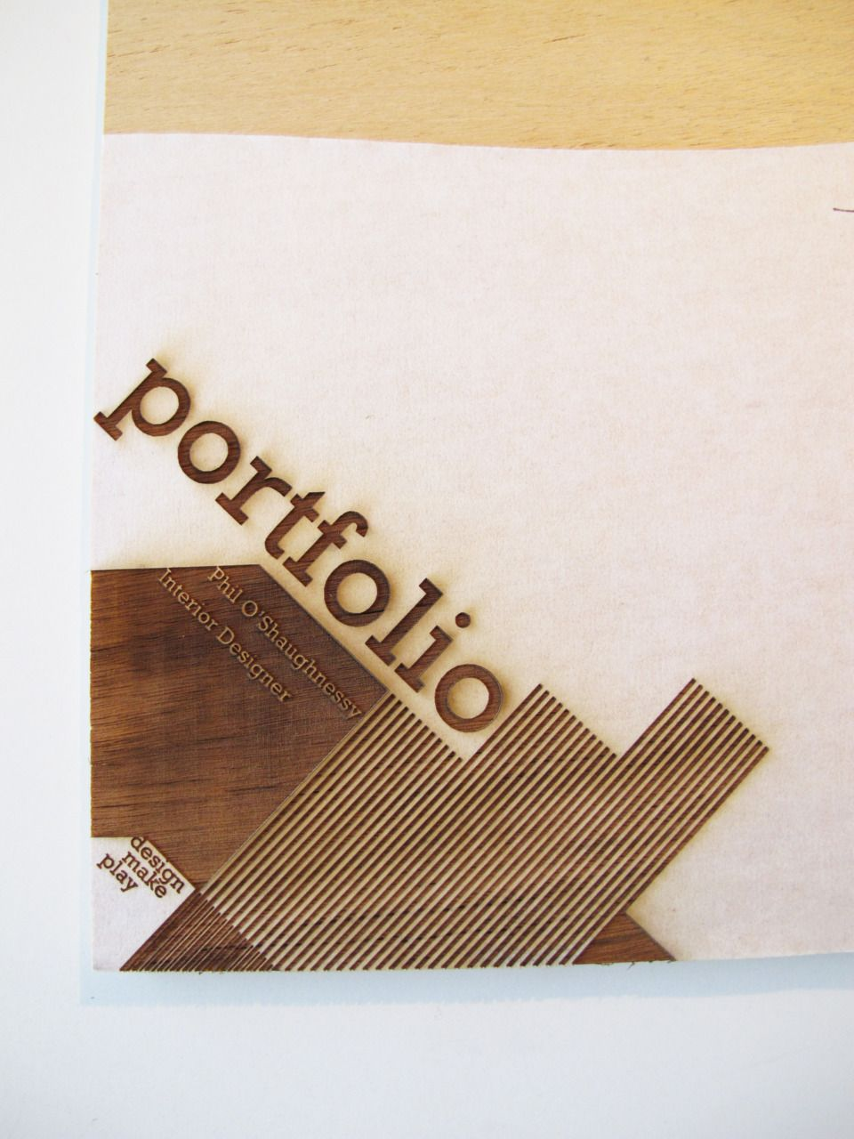 Brilliant Portfolio Cover We Burnt Into Plywood Protective Tape Prevents The Oils And Burn Marks From Portfolio Design Portfolio Cover Design Portfolio Covers
