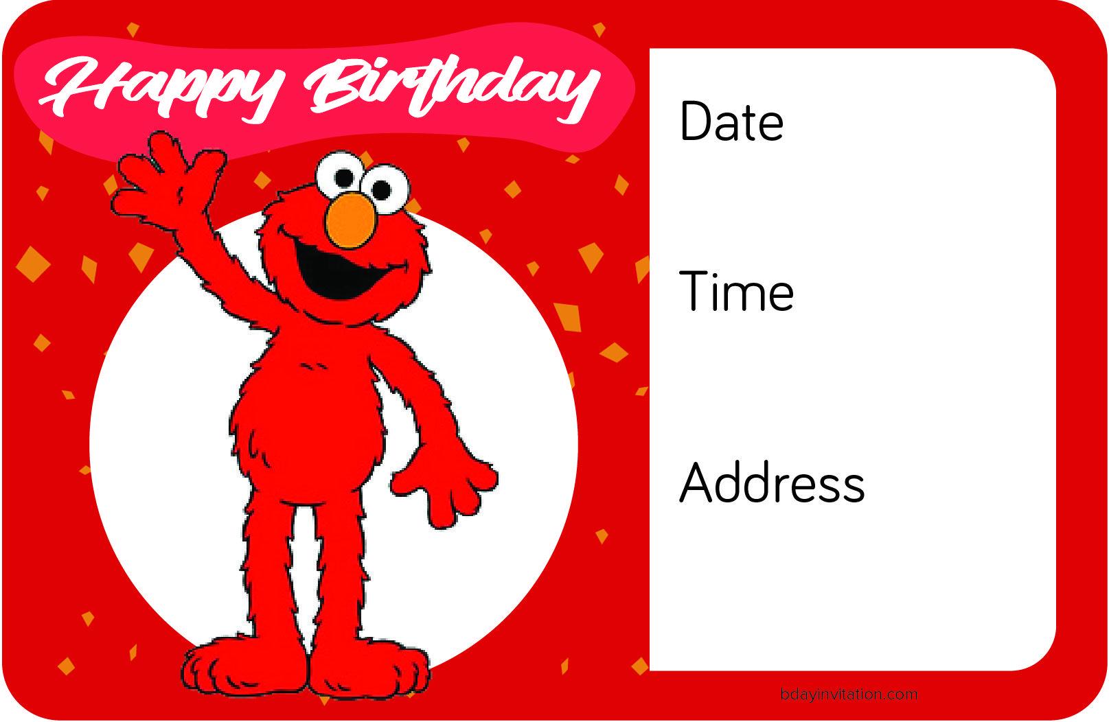 Awesome FREE Printable Elmo Birthday Invitation Template | FREE ...