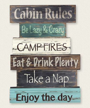 Another Great Find On Zulily Cabin Rules Wood Wall