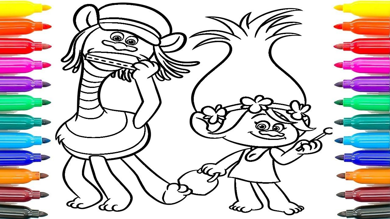 Funny Trolls Poppy & Cooper Learning colors Funny Coloring Book ...