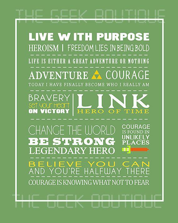 Legend of Zelda 8x10 Quote Prints by GeekyPrintsandMore on