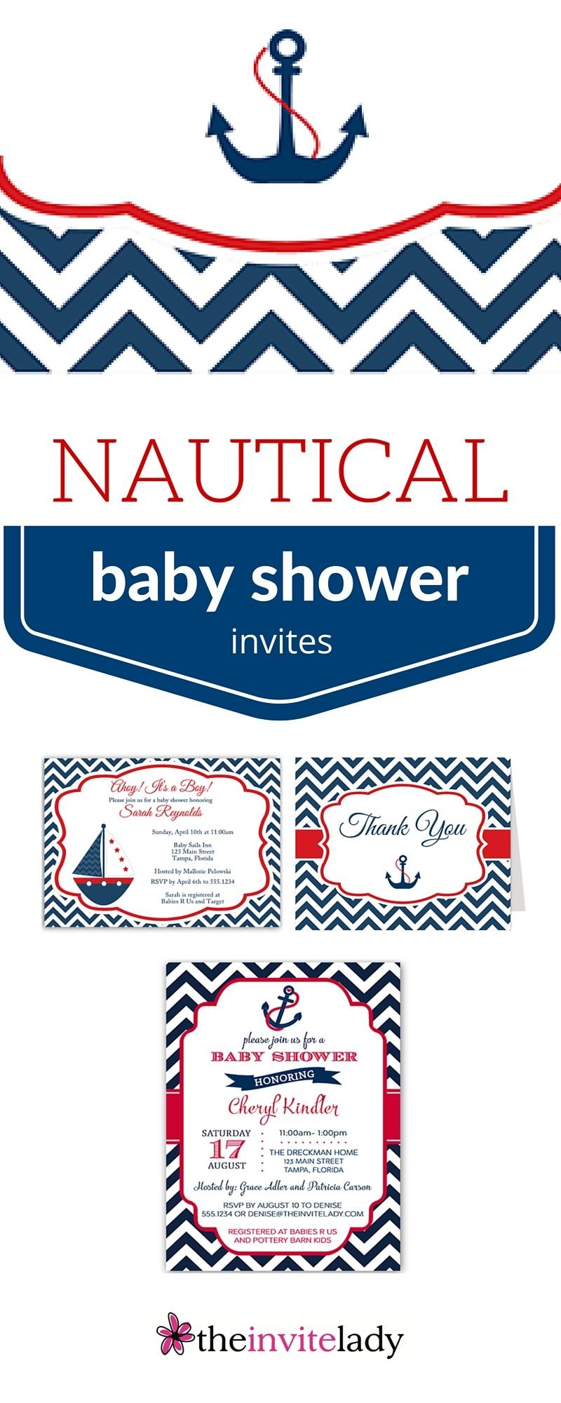 Nautical themed baby shower invitations, Thank you cards, mom to be ...