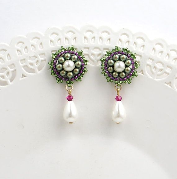 Flower stud earrings, Gifts for mom, Pearl drop earrings wedding, Bridesmaid pearl earrings gold, Pink and green beaded jewelry for women