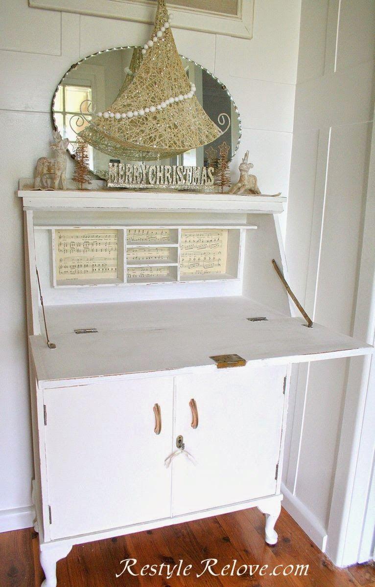 Little white vintage drop front desk 2 with images