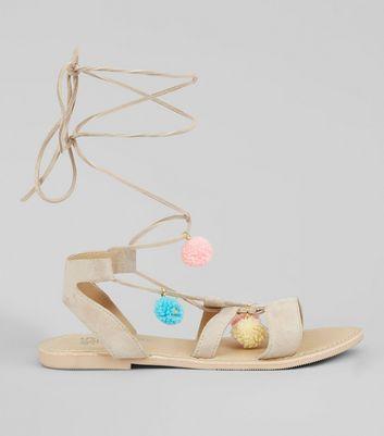 Teens Mink Suede Pom Pom Sandals
