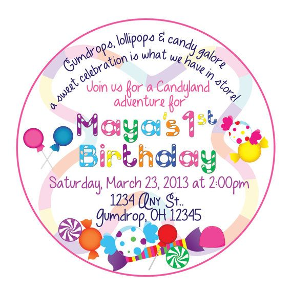 candyland invitation stickers for giant lollipops or cookies