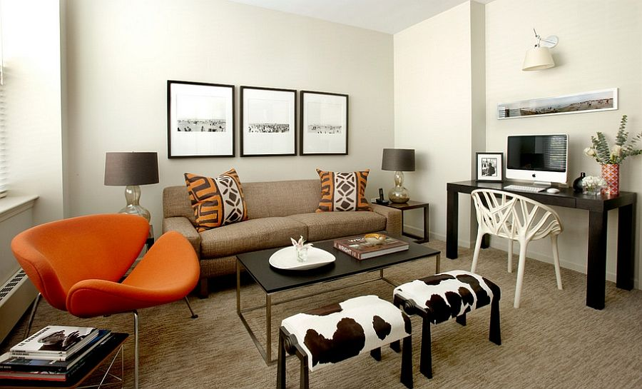 Cozy Family Room Looks Even More Inviting Thanks To The Dramatic Orange  Slice Chair! [