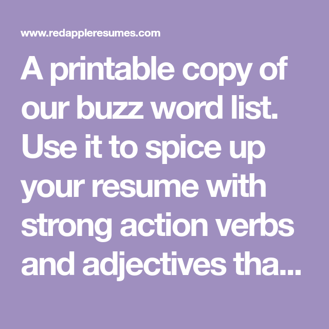 A Printable Copy Of Our Buzz Word List. Use It To Spice Up