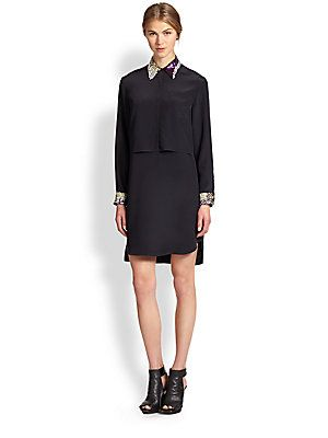 3.1 Phillip Lim Embellished Layered Silk Shift Dress