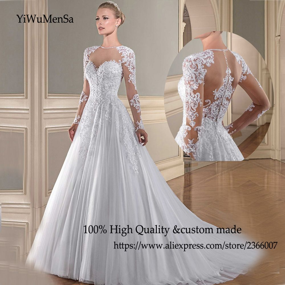 YiWuMenSa vestido de noiva vintage plus size See through wedding ...