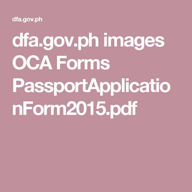 DfaGovPh Images Oca Forms PassportapplicationformPdf