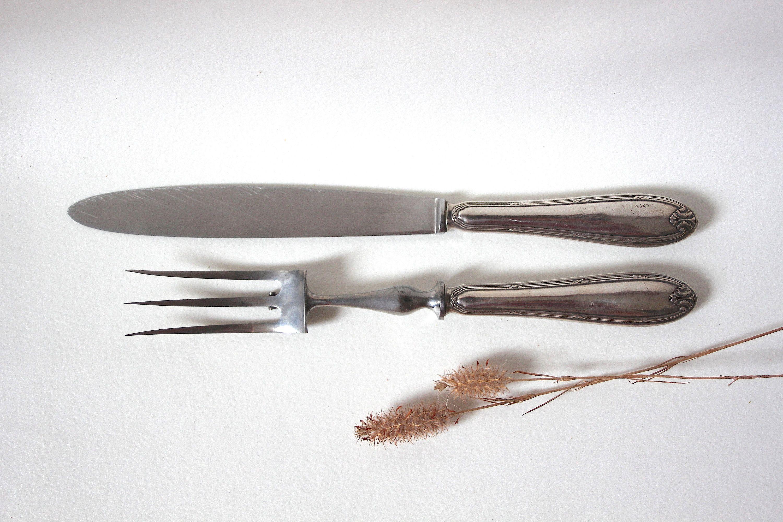 vintage couteau et fourchette a roti