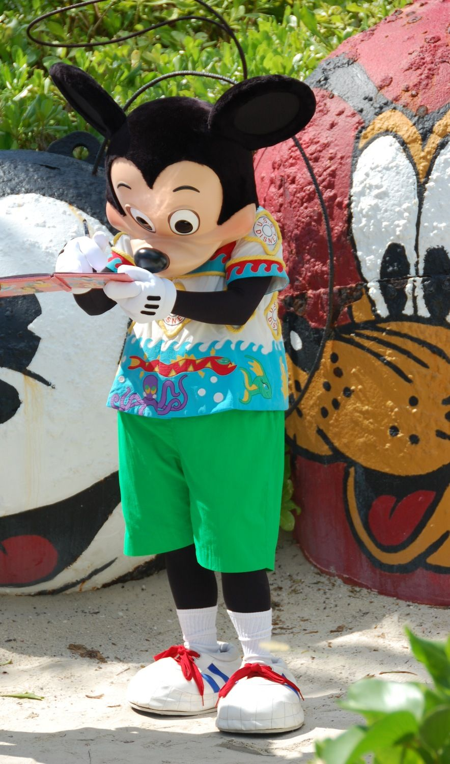 Mickey Mouse at Castaway Cay, Disney's private island.  Disney Cruise Line.