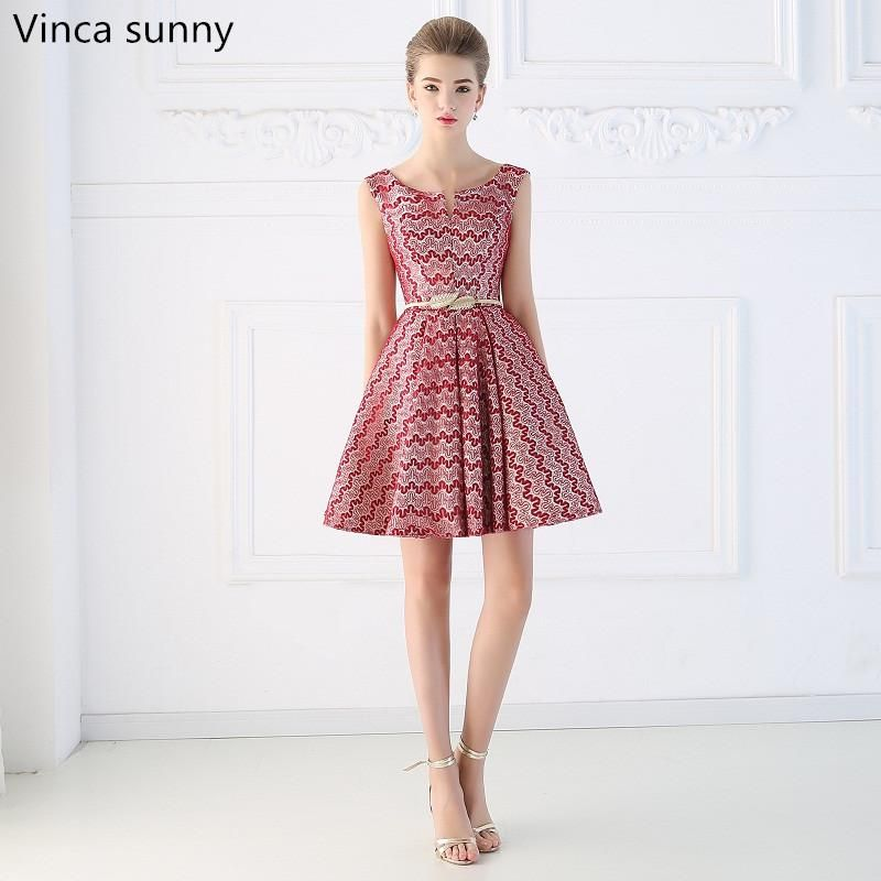 23d3b0cdde Vinca sunny 2018 short design the banquet red Striped lace dress one-piece  dress V-neck plus size women short evening dresses. Yesterday s price  US   129.00 ...