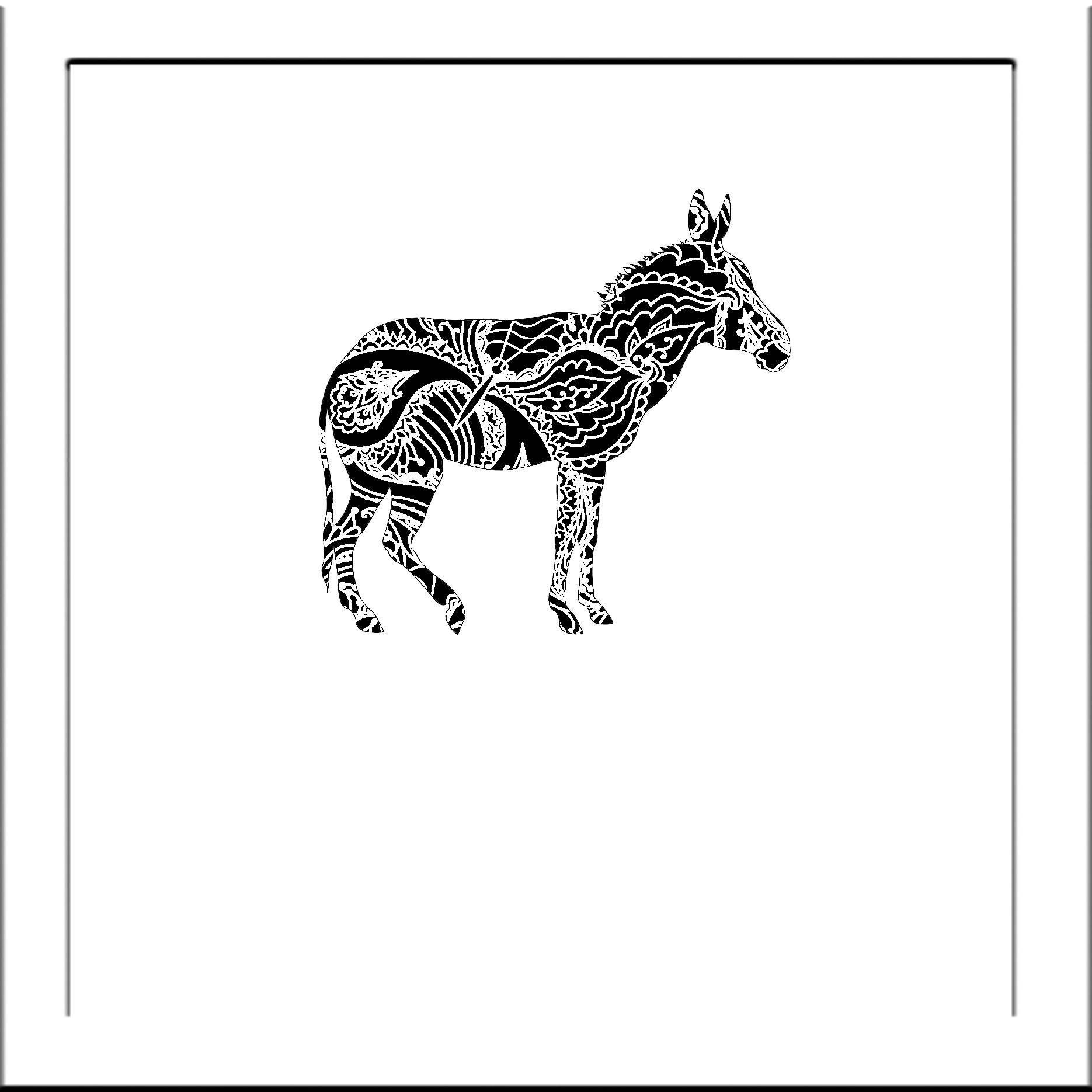 Donkey Silhouette - Papercut Template Paper Cut Silhouette Pdf Line ...