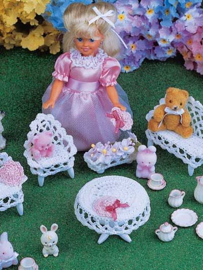 Mother/'s Corner Furniture fits Barbie Doll Annie/'s Crochet PATTERN//INSTRUCTIONS