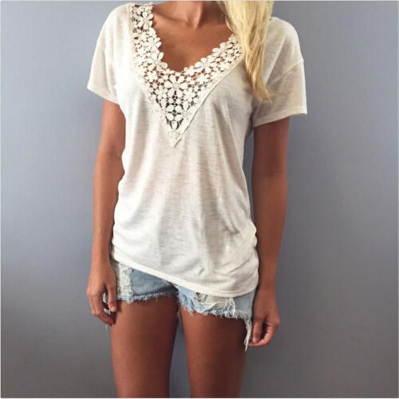 c0b6712675f 2017 Sexy Fashion Women Summer Tops Deep V Neck Thin Shirt Lace Neck Casual  Loose Short Sleeve Blouse Tank Tops Shirt Hot Sale