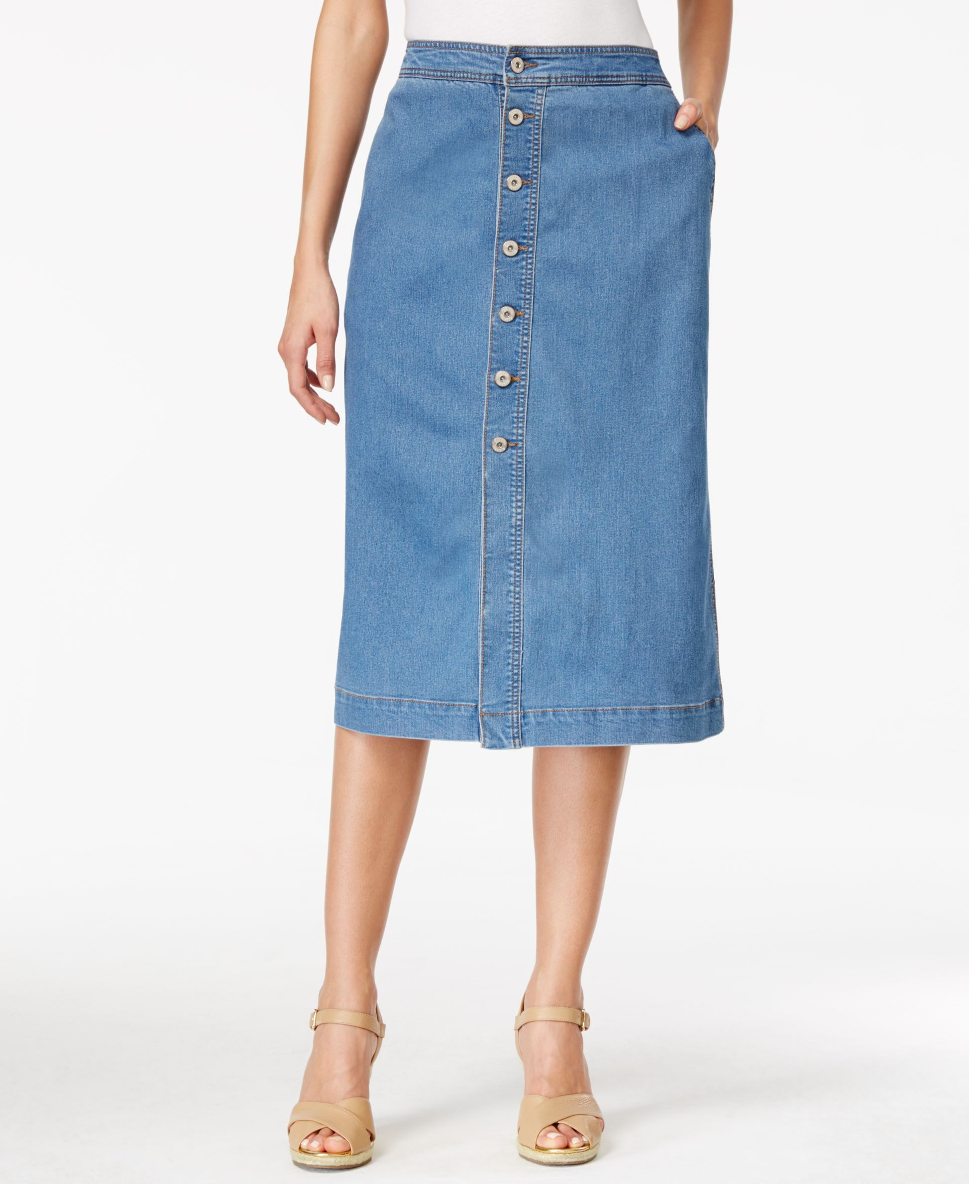 5b672f7e59 Style & Co. Button Front Midi Denim Skirt, Only at Macy's   Products ...
