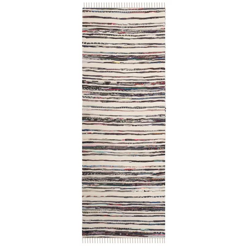 Sanchaya Handwoven Flatweave Cotton Ivory Charcoal Area Rug Handmade Rag Rugs