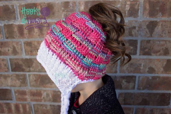 77d40c8a0b0 Crochet Pattern for Basket Weave Ponytail or Messy Bun Beanie Hat DIY  Tutorial - Sizes baby to large