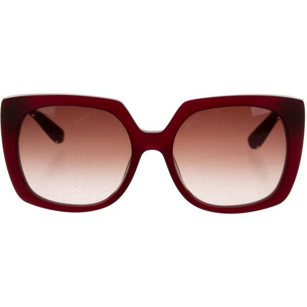Pre-owned Etro Logo-Embellished Oversize Sunglasses ($85) ❤ liked on Polyvore featuring accessories, eyewear, sunglasses, red, etro, red glasses, embellished sunglasses, red sunglasses and over sized sunglasses