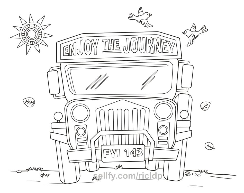 Philippine Jeepney Coloring Pages Set 2 Coloring Pages Jeepney Jeep Drawing
