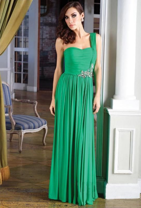 A-line One Shoulder Green Chiffon Prom Dress