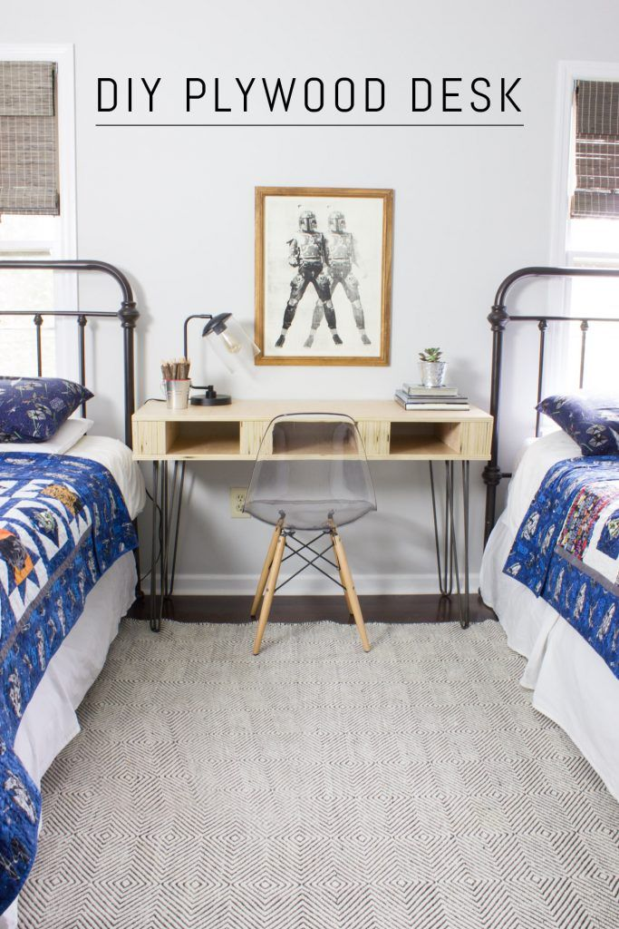 DIY Plywood Desk Diy hanging shelves, Diy pallet sofa