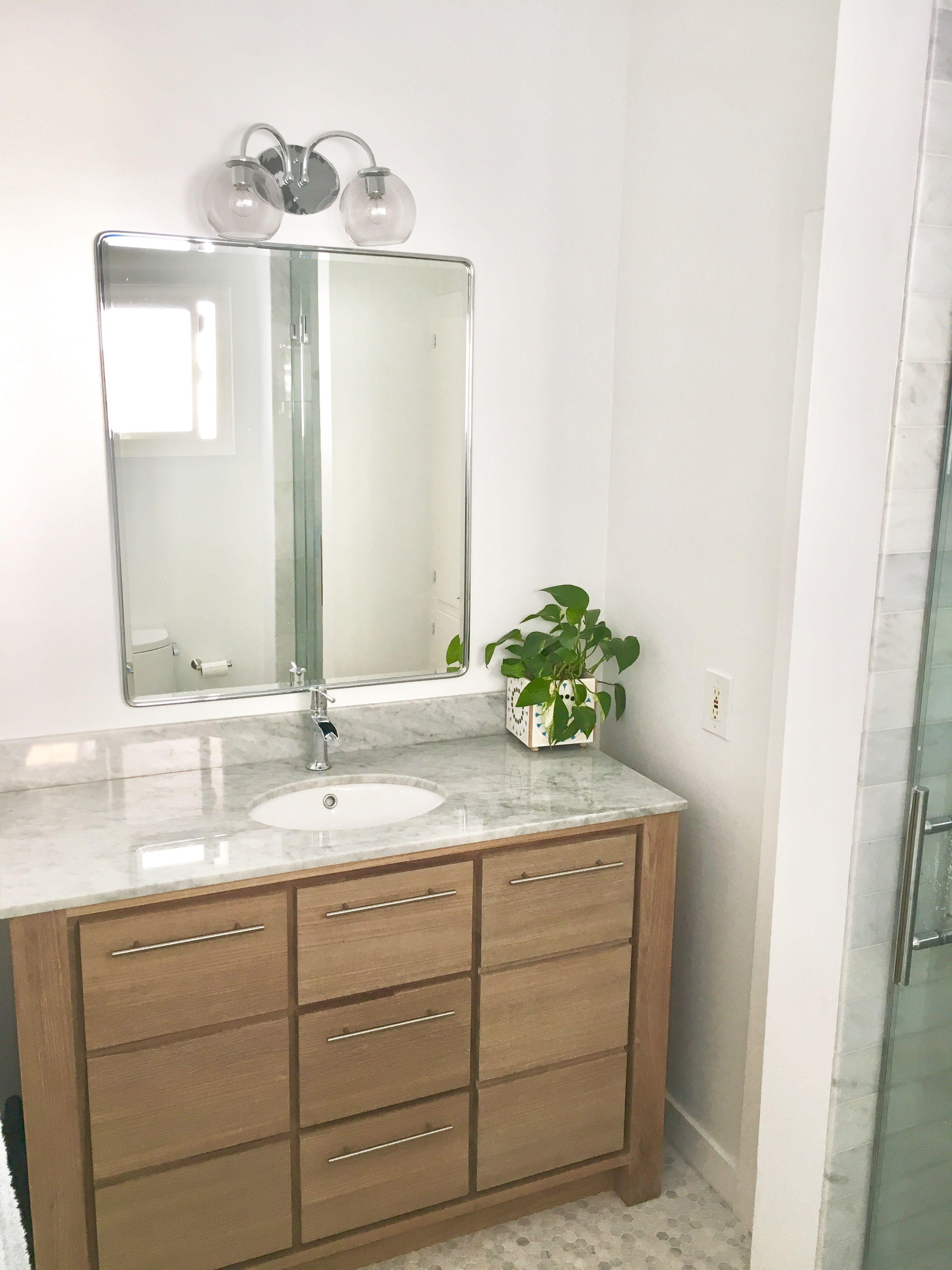 Small bathroom ideas. White bathroom. Globe lights, pottery barn ...