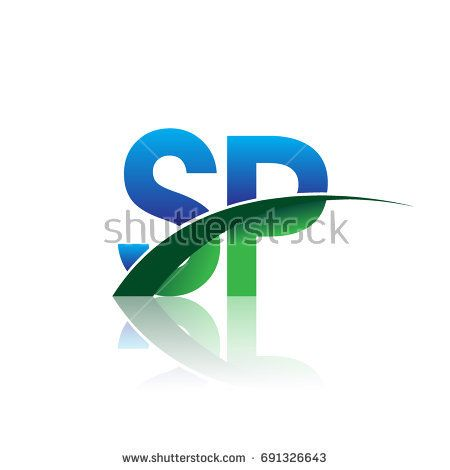Initial Letter Sp Logotype Company Name Colored Blue And