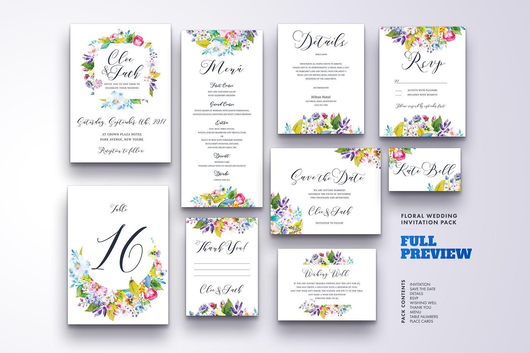Floral Wedding Invitation Set Vol 3 Invitation Wedding Floral Templates Floral Wedding Invitations Wedding Invitations Flower Wedding Invitation