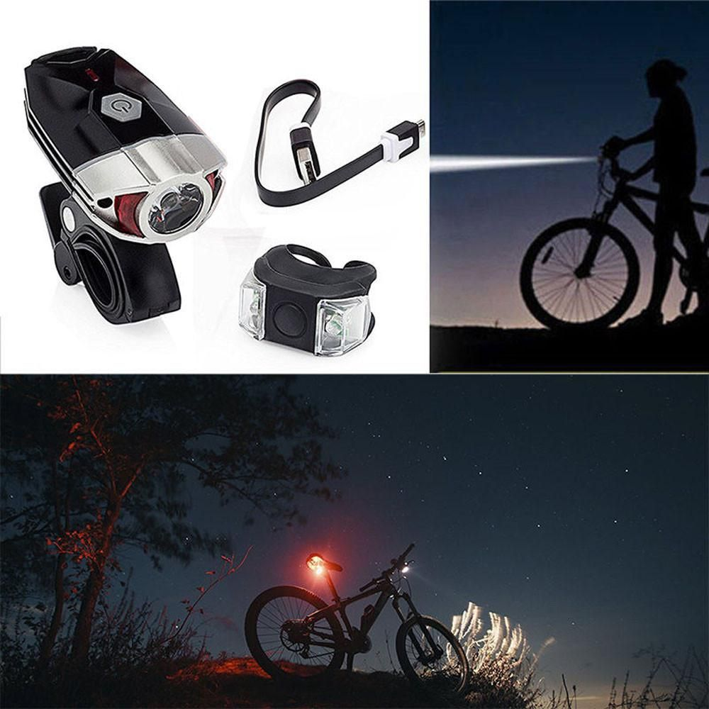 Bicycle MTB Front Light Headlight Bike Safety Lamp/&Rear Tail Light Rechargeable