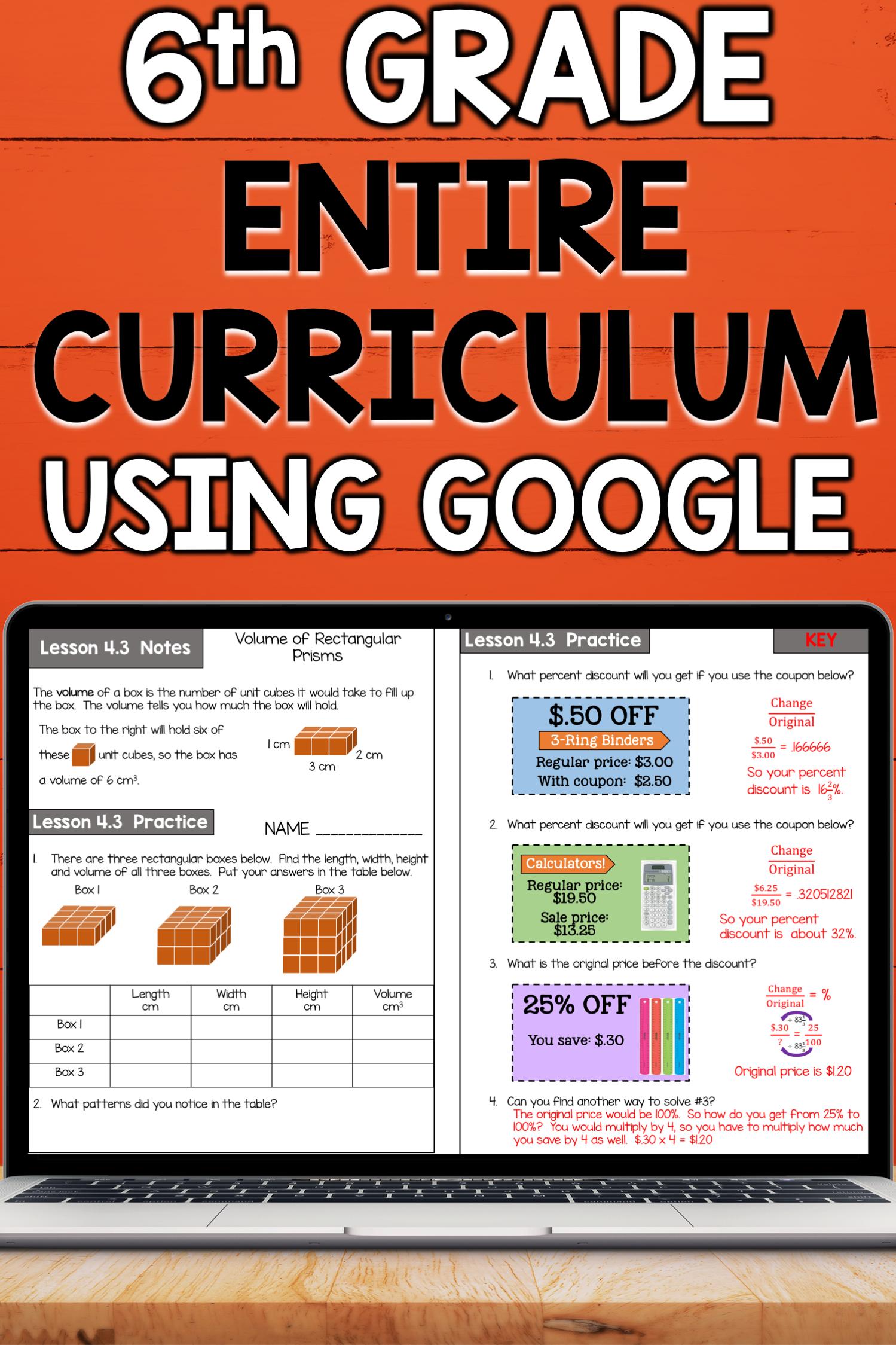 6th Grade Math Curriculum Bundle Common Core Aligned Using