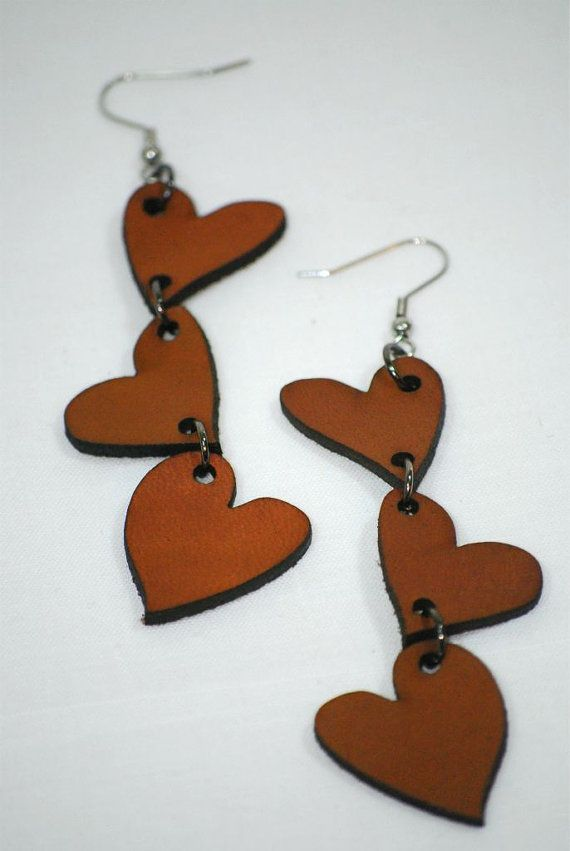 Photo of Items similar to Laser Cut Earrings – Three Hearts on Etsy
