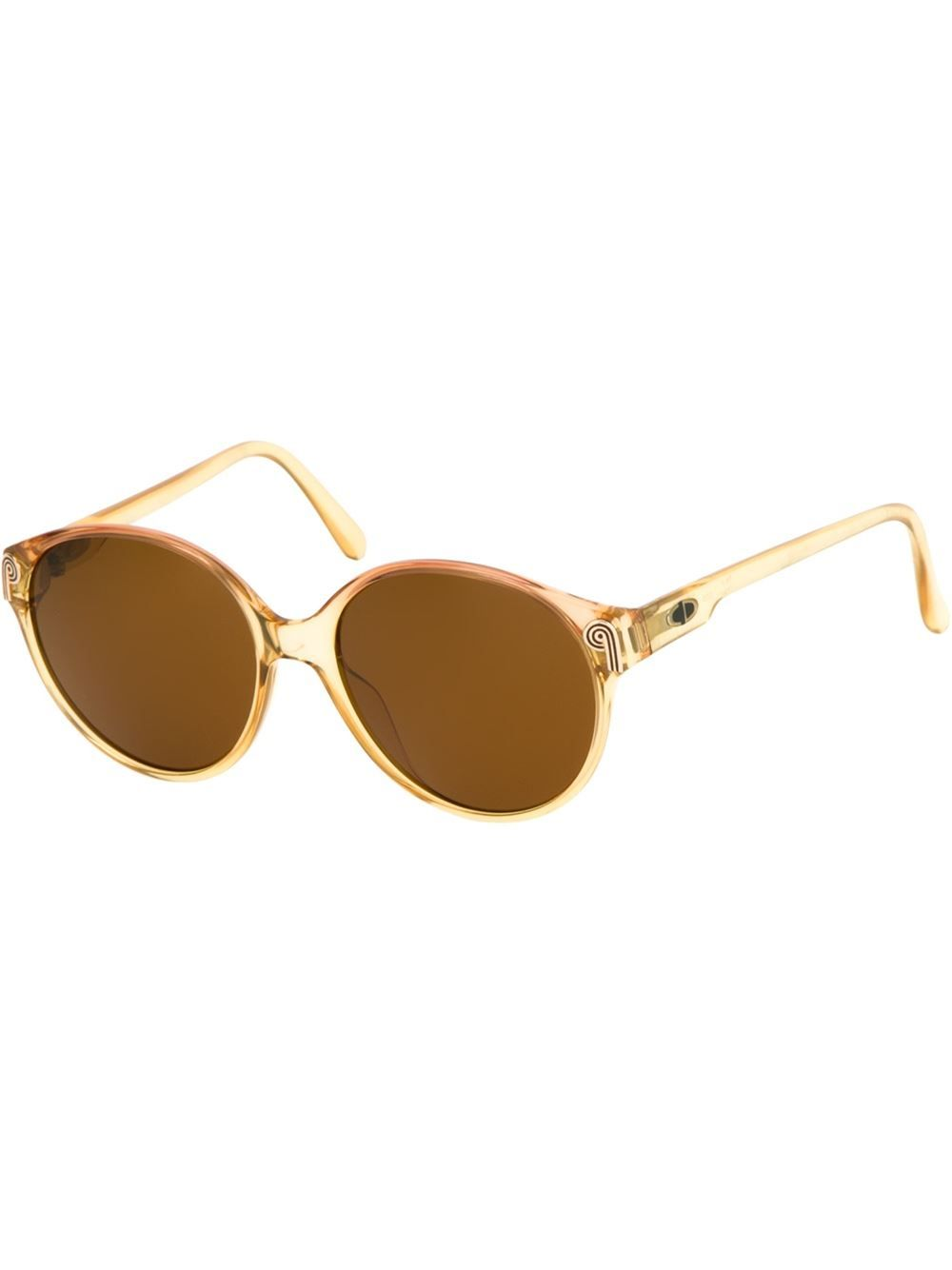 Translucent bronze-tone round frame sunglasses from Christian Dior Vintage featuring brown lenses, logo detailing at the hinges, straight arms and curved tips.