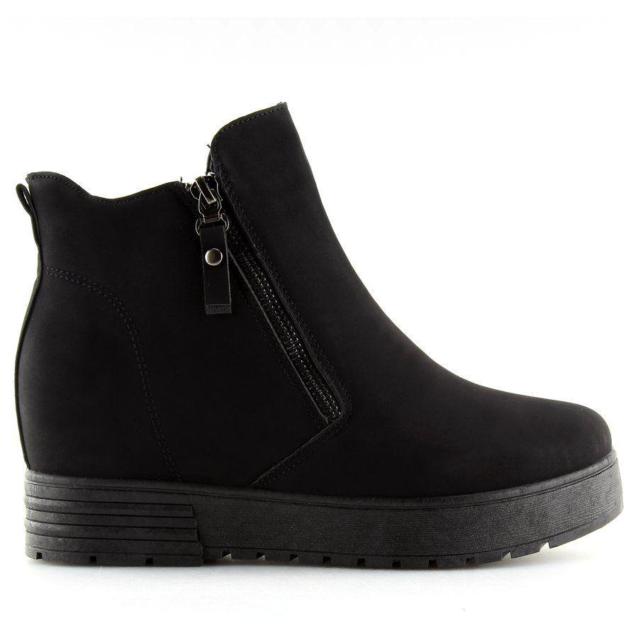 Sportowe Damskie Butymodne Botki Na Ukrytym Koturnie Czarne Sj657 Butymodne Ankle Boot Shoes Boots
