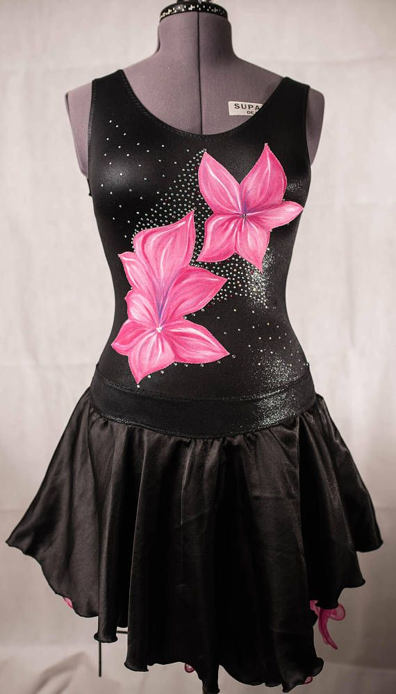 Beautiful Handmade Latin Dancesport Dress Decorated Hand Painted Appliques Sparkly