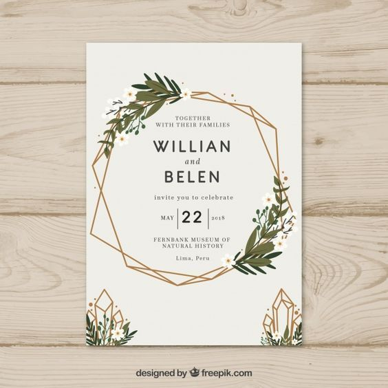 Printable Modern Simple Wedding Invitations With Olive Green Leaves Gold Foil Geometric Frame And Wordings Cheap Wedding Invitation Spring Wedding Invitation Dugun Davetiyesi Tasarimi Dugun Davetiyeleri Davetiye