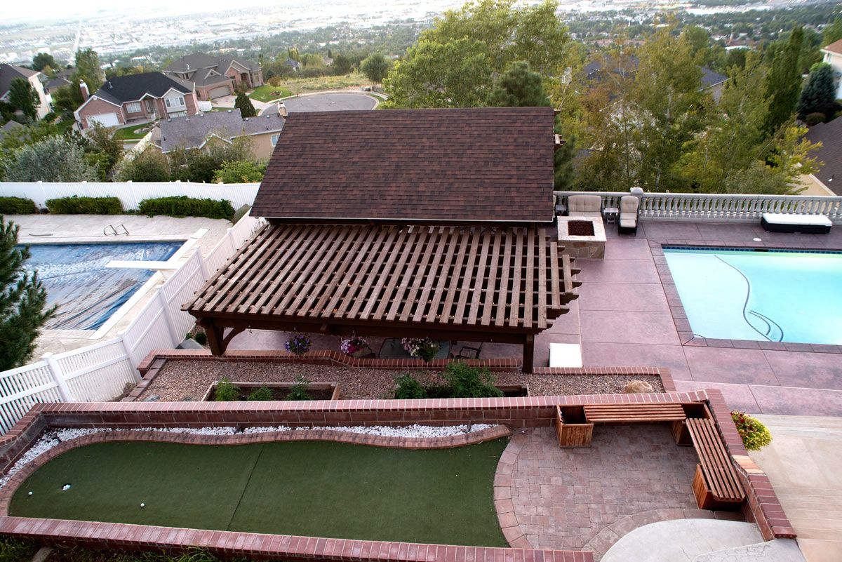 roof view of heavy duty oversized timber frame pavilion pool house