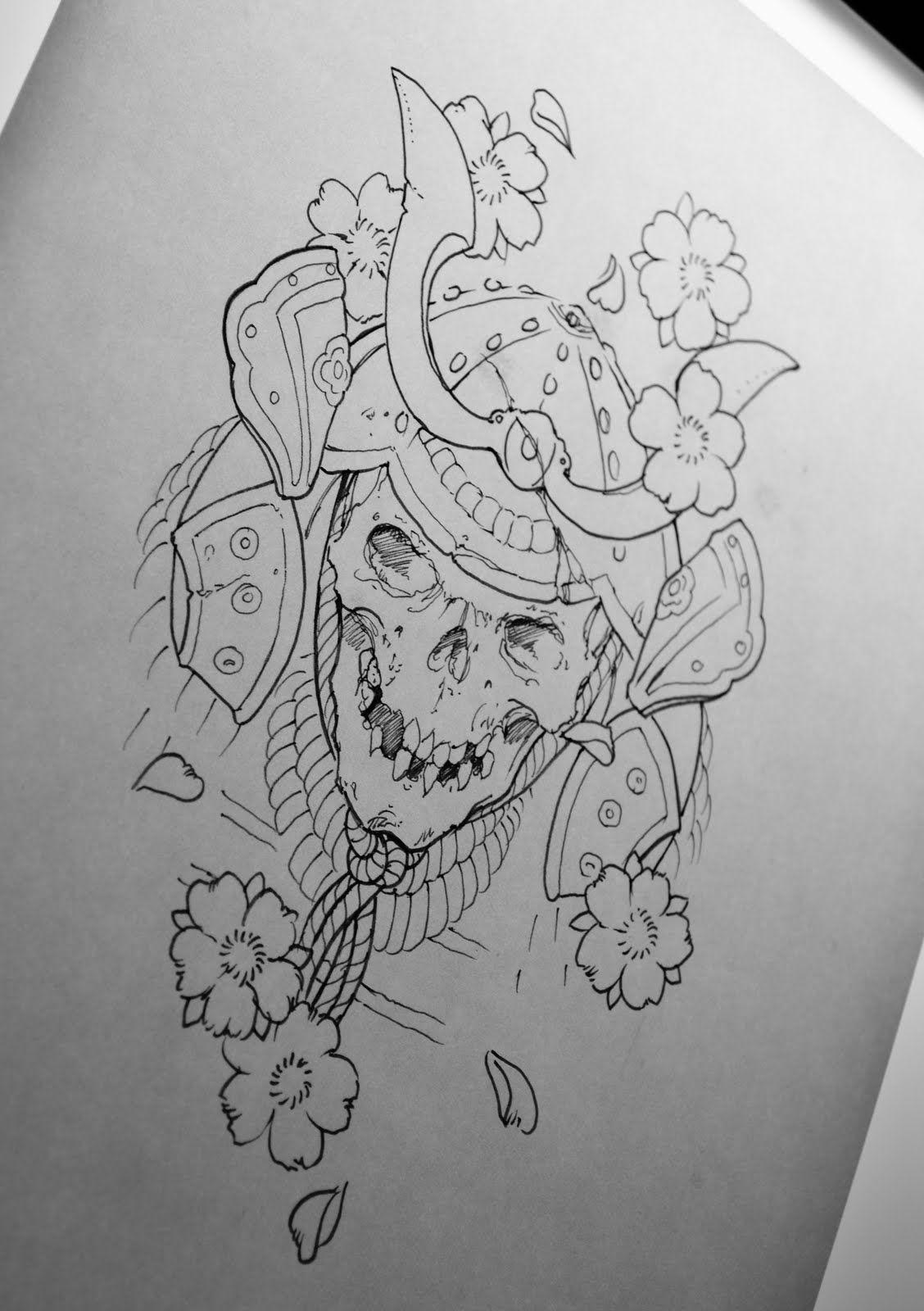 Japanese Skull Drawing Outline Wiring Diagrams 40w Electronic Ballast Circuit Diagram Image Galleries Imagekbcom Samurai Tattoo Leg Sleeve Pinterest Tattoos Rh Com Rose Simple