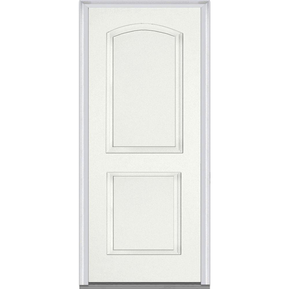 Milliken Millwork 33.5 in. x 81.75 in. 2 Panel Archtop Painted Fiberglass Smooth Exterior Door, Graystone White