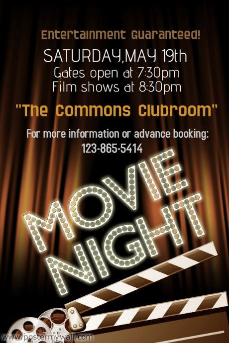 custom poster poster ideas Pinterest - movie night flyer template