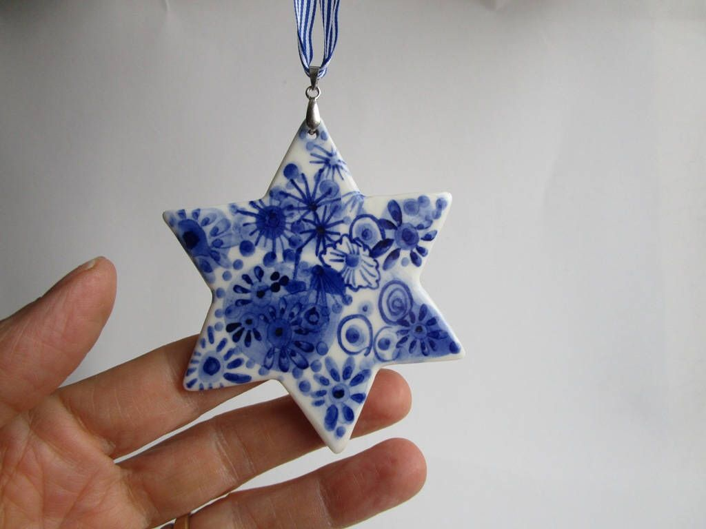 Delft Star Christmas Tree Ornament Hand Painted Blue And White Porcelain Ornament Christmas Tree Ornaments Hand Painted Ornaments Christmas