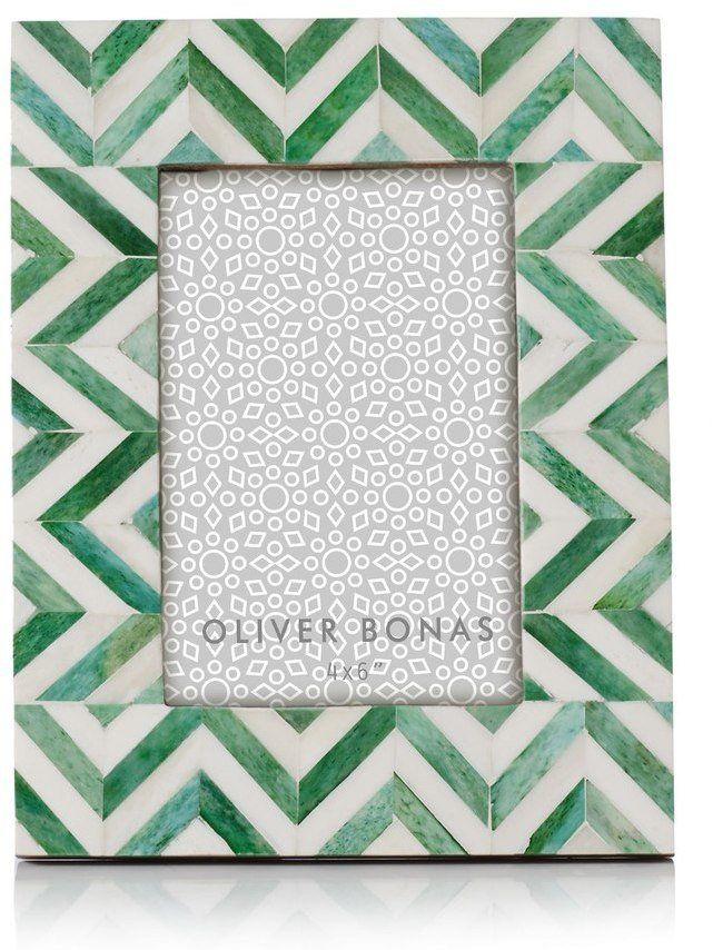 Oliver Bonas Astrid Chevron Green Photo Frame