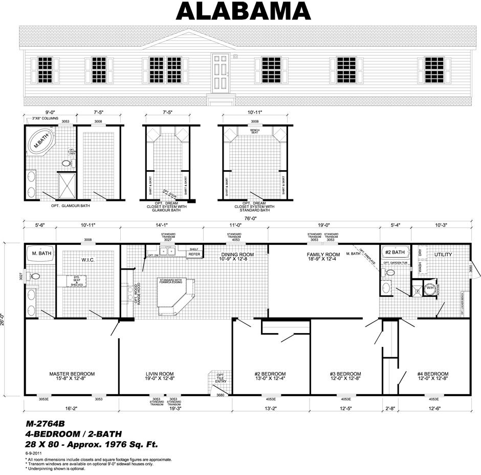 M 2764b Mobile Home Floor Plans Live Oak Homes Home Center