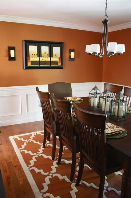 Awesome Burnt Orange Dining Room.