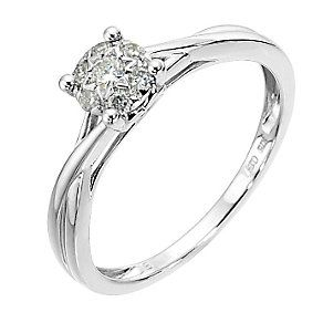 fc46220a2e911 9ct white gold 15 point diamond cluster crossover ring - Product ...